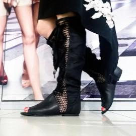 Дамски летни ботуши черна естествена кожа Б-6
