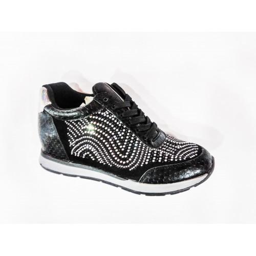 Дамски спортно елегантни обувки черни с вътрешна платформа BS123 - DICIANI