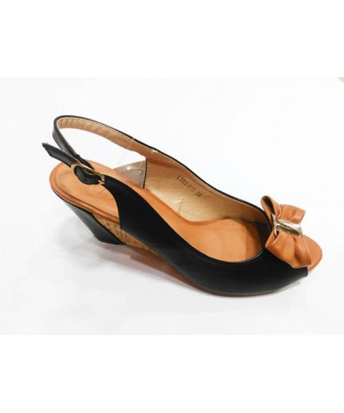 Дамски сандали кожено холандско ходило черна кожа и канела цвят 2B11