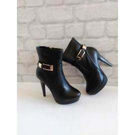 Дамски боти  черна кожа  X0051-F06