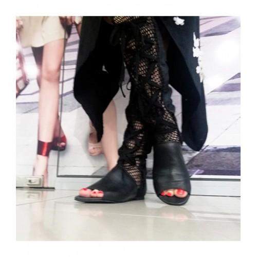 Дамски летни ботуши черна естествена кожа Б-6 - DICIANI