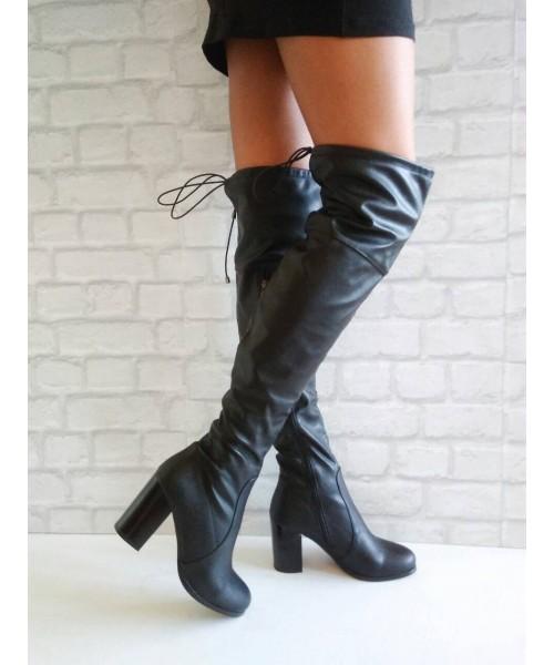 Дамски ботуши - чизми черна кожа 29-R9
