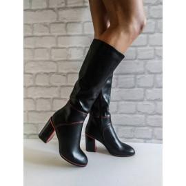 Дамски ботуши черна кожа и червени елементи 1-X206