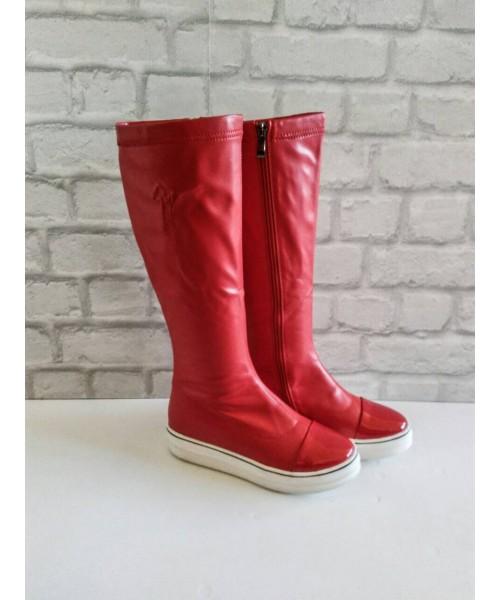 Дамски ботуши червена кожа P239