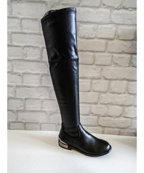 Дамски ботуши - чизми черна кожа 5-826