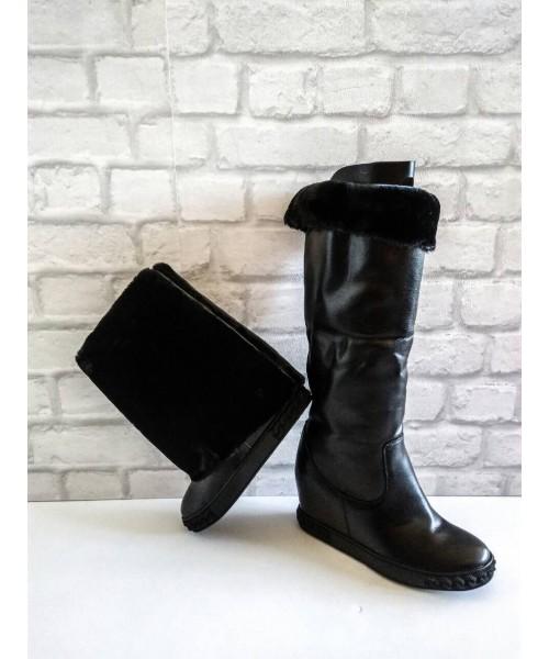 Дамски ботуш черна кожа с дебел полар 5-787 - DICIANI