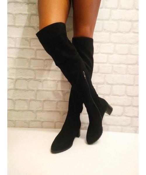 Дамски чизми черен велур 083-4