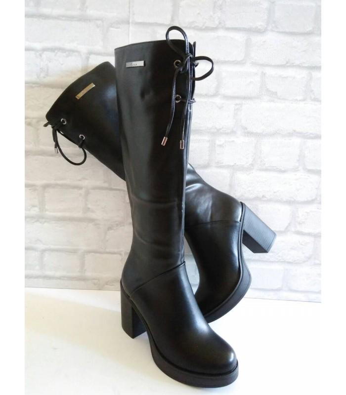 b2181f38b6c Дамски ботуши черна кожа връзки отпред C208 - Зимни ботуши - DICIANI
