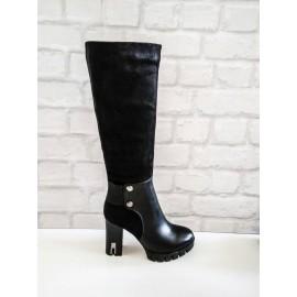 Дамски ботуши черна кожа и велур G-507