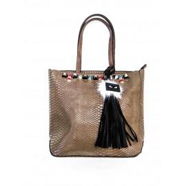Дамска чанта 2261 беж кроко лак с цветни камъни и аксесоар-естествен пух