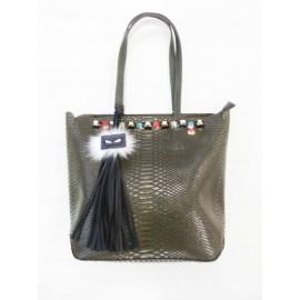 Дамска чанта 2261 киви кроко лак с цветни камъни и аксесоар-естествен пух