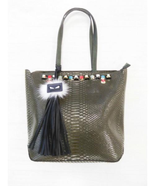 Дамска чанта 2261 киви кроко лак с цветни камъни и аксесоар-естествен пух - DICIANI