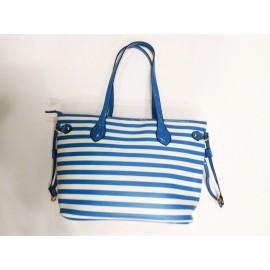 Дамска чанта бяло и синьо райе 8861-А