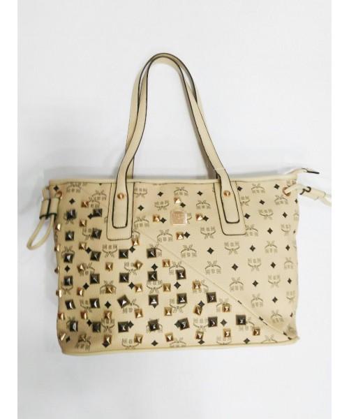 Дамска чанта беж кожа 8861-A - DICIANI