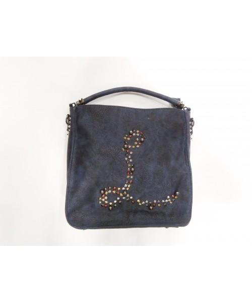 Чанта спортна тъмно синя кожа  A1728