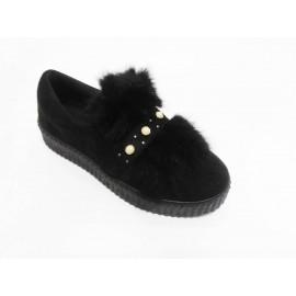 Дамски обувки черен велур с естествен косъм и перли 003