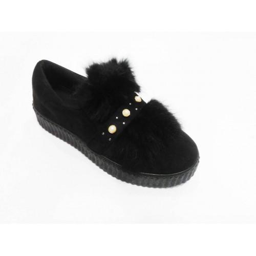 Дамски обувки черен велур с естествен косъм и перли 003 - DICIANI