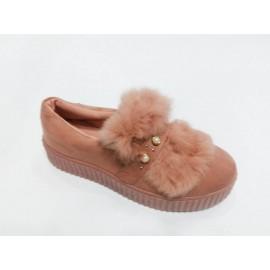 Дамски обувки велур цвят пудра с естествен косъм и перли 003