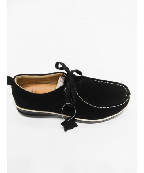 Дамски мокасини естествен велур черен цвят 2253