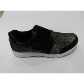 Дамски спортно елегантни обувки текстил черен цвят W22