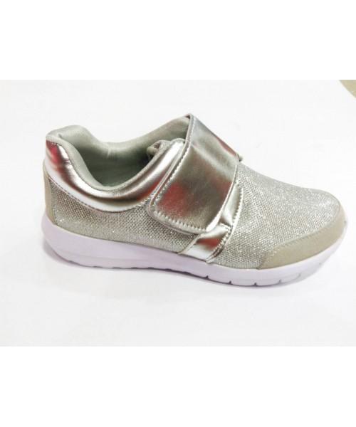 Дамски спортно елегантни обувки текстил сребърен цвят W22