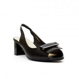 Дамски сандали  черна кожа с ток E205B-D45