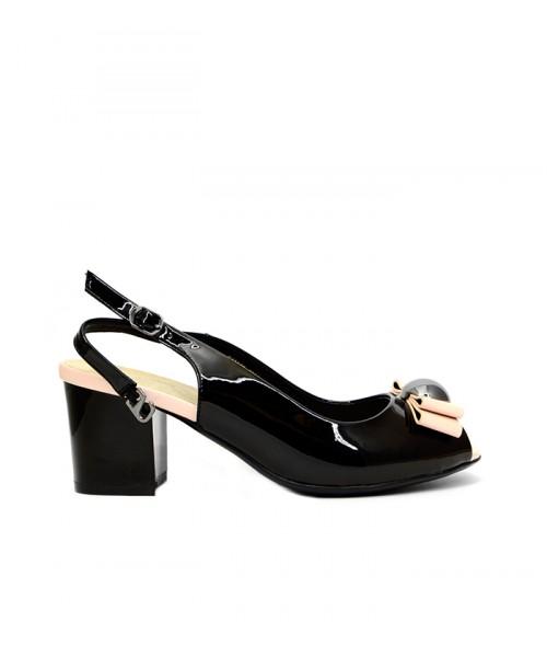 Дамски сандал черен лак на ток E1886B-980