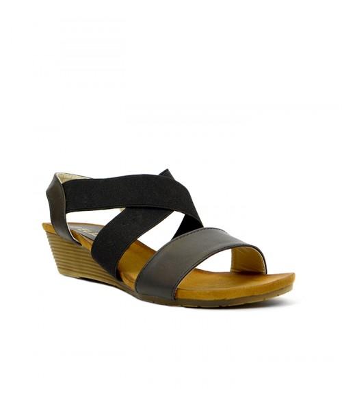 Дамски сандали CHBN1579-2 черна кожа клин ходило